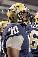 Pitt offensive lineman Juantez Hollins. The Pittsburgh Panthers defeated the Notre Dame Fighting Irish 28-21 at Heinz Field, Pittsburgh, Pennsylvania on November 9, 2013.