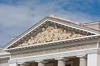 Cuba, Cienfuegos.  Frieze above Entrance to the Colegio San Lorenzo.