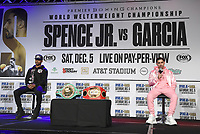 DALLAS, TX - DECEMBER 2: Errol Spence Jr. (L) and Danny Garcia appear at a press conference for their December 5, 2020 Fox Sports PBC Pay-Per-View title fight at AT&T Stadium in Arlington, Texas. (Photo by Frank Micelotta/Fox Sports)