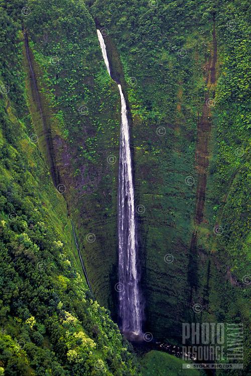 Aerial of Waipio Valley with waterfall, Big Island