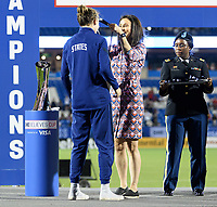 FRISCO, TX - MARCH 11: Tierna Davidson #12 of the United States receives her medal during a game between Japan and USWNT at Toyota Stadium on March 11, 2020 in Frisco, Texas.