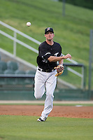 Kannapolis Intimidators third baseman Cody Daily (31) makes a throw to first base against the Delmarva Shorebirds at Kannapolis Intimidators Stadium on April 11, 2016 in Kannapolis, North Carolina.  (Brian Westerholt/Four Seam Images)