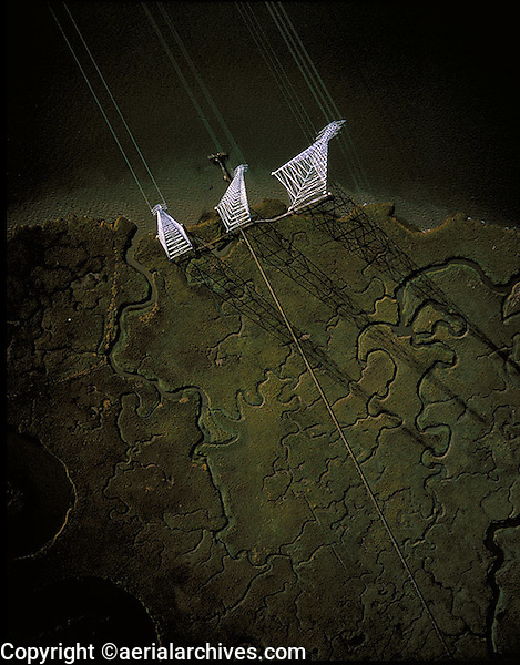 aerial photograph of electrical transmission towers at Bair Island, Redwood City, California