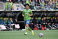 SEATTLE, WA - NOVEMBER 10: Kim Kee-hee #20 of the Seattle Sounders FC plays the ball during a game between Toronto FC and Seattle Sounders FC at CenturyLink Field on November 10, 2019 in Seattle, Washington.