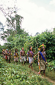 Bacaja village, Amazon, Brazil. Hunting party in the forest. Xicrin tribe.