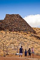 A family viewing Pu'ukohola Heiau (a.k.a. the temple on the whale hill), the largest and last heiau constructed in 1790-91 by Kamehameha I, Pu'ukohola Heiau National Historic Site, Kawaihae, Kohala, Big Island.