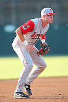 Lowell Spinners third baseman Kolbrin Vitek (3) during a game vs. the Batavia Muckdogs at Dwyer Stadium in Batavia, New York July 16, 2010.   Batavia defeated Lowell 5-4 with a walk off RBI single.  Photo By Mike Janes/Four Seam Images
