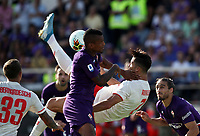Calcio, Serie A: Fiorentina - Juventus, stadio Artemio Franchi Firenze 14 settembre 2019<br /> Juventus' Cristiano Ronaldo (r) performs an overhead kick despite Fiorentina's Dalbert (l) during the Italian Serie A football match between Fiorentina and Juventus at Florence's Artemio Franchi stadium, September 14, 2019. <br /> UPDATE IMAGES PRESS/Isabella Bontto