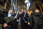 © Joel Goodman - 07973 332324 . 02/10/2017. Manchester, UK. JACOB REES-MOGG leaves a fringe , right-wing Bruges Group event at Manchester Town Hall , surrounded by media , during the second day of the Conservative Party Conference at the Manchester Central Convention Centre . Photo credit : Joel Goodman