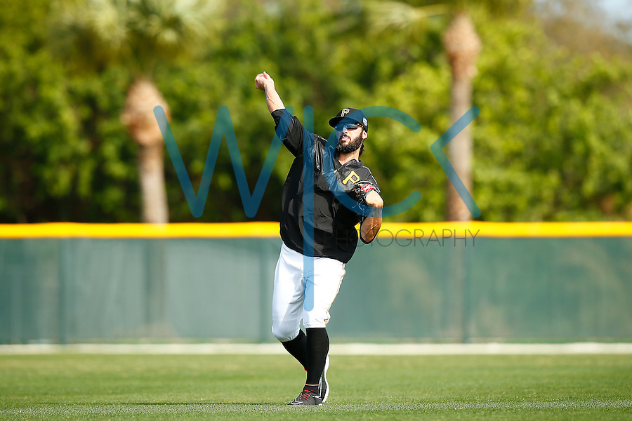 Sean Rodriguez #3 of the Pittsburgh Pirates works out during spring training at Pirate City in Bradenton, Florida on February 23, 2016. (Photo by Jared Wickerham / DKPS)