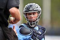 Charlotte Stone Crabs catcher Maxx Tissenbaum (19) gets a new ball front he umpire during a game against the Fort Myers Miracle on April 16, 2014 at Charlotte Sports Park in Port Charlotte, Florida.  Fort Myers defeated Charlotte 6-5.  (Mike Janes/Four Seam Images)
