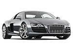 Low aggressive passenger side front three quarter view of a 2009 - 2012 Audi R8 V10 FSI Coupe.