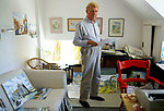 Paul Johnson British author, historian, broadcaster, author, journalist and artist in his studio at home in Nether Stowey, Somerset 1990s