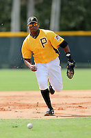Pittsburgh Pirates third baseman Yhonathan Barrios #25 during practice before an Instructional League game against the Philadelphia Phillies at Pirate City on October 11, 2011 in Bradenton, Florida.  (Mike Janes/Four Seam Images)