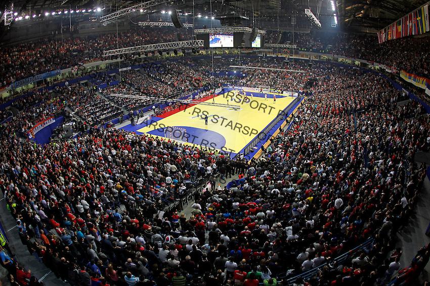 General overview of Belgrade Arena during men`s EHF EURO 2012 championship semifinal handball game between Serbia and Croatia in Belgrade, Serbia, Friday, January 27, 2011.  (photo: Pedja Milosavljevic / thepedja@gmail.com / +381641260959) arena total