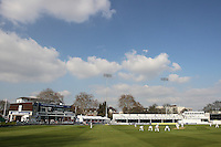 General view of a bright blue spring sky over the Ford County Ground - Essex CCC vs Surrey CCC - Friendly Cricket Match at the Ford County Ground, Chelmsford, Essex - 21/03/12 - MANDATORY CREDIT: Gavin Ellis/TGSPHOTO - Self billing applies where appropriate - 0845 094 6026 - contact@tgsphoto.co.uk - NO UNPAID USE.