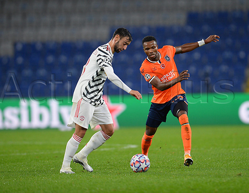 4th November 2020, Basaksehir Fatih Stadium, Istanbul, Turkey; UEFA Champions League football,  Basaksehir versus manchester United;   Boli Bolingoli-Mbombo of Basaksehir and Bruno Fernandes of Manchester United