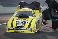 Feb 10, 2017; Pomona, CA, USA; NHRA funny car driver Jim Campbell during qualifying for the Winternationals at Auto Club Raceway at Pomona. Mandatory Credit: Mark J. Rebilas-USA TODAY Sports
