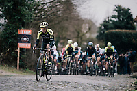 Dion Smith (NZL/Mitchelton-Scott) up the Kruisberg cobbles<br /> <br /> 71th Kuurne-Brussel-Kuurne 2019 <br /> Kuurne to Kuurne (BEL): 201km<br /> <br /> ©kramon