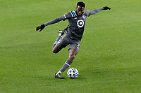 ST PAUL, MN - OCTOBER 28: Kevin Molino #7 of Minnesota United FC kicks the ball during a game between Colorado Rapids and Minnesota United FC at Allianz Field on October 28, 2020 in St Paul, Minnesota.