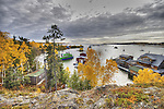 View of Yellowknife Bay and houseboats in autumn.