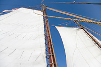 Main sail on the Historic Tall Ship, A.J. Meerwald, Delaware Bay, Cumberland County, New Jersey