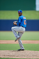 GCL Mets starting pitcher Jose Moreno (87) delivers a pitch during the second game of a doubleheader against the GCL Nationals on July 22, 2017 at The Ballpark of the Palm Beaches in Palm Beach, Florida.  GCL Mets defeated the GCL Nationals 4-1.  (Mike Janes/Four Seam Images)