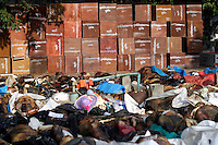 A pile of corpses of people killed in the tsunami which struck South Asia on 26/12/2004. Rescue workers attempted to gather and identify the bodies at various locations, mostly on temple grounds.