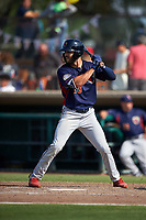 Lancaster JetHawks right fielder Willie Abreu (13) at bat during a California League game against the Inland Empire 66ers at San Manuel Stadium on May 20, 2018 in San Bernardino, California. Inland Empire defeated Lancaster 12-2. (Zachary Lucy/Four Seam Images)
