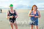 Juliette McCrohan and Maureen Molyneaux enjoying a swim in Banna beach on New Years Day.