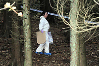Pictured: South Wales Police officers at the scene where the body of 15 year old Rebecca Aylward was discovered in woods in Aberkenfig near Bridgend south Wales in October 2010. STOCK PICTURE<br /> Re: A 16-year-old boy who battered his former girlfriend to death is due to be sentenced today (Friday 02 September 2011) for her murder.<br /> Rebecca Aylward, 15, from Maesteg, was lured into a wood in Aberkenfig, near Bridgend, in October 2010. <br /> Joshua Davies denied murder, blaming his friend, but was convicted by a 10-2 majority verdict in July.
