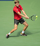September 1,2019:   David Goffin (BEL) loses to Roger Federer (SUI) 6-2, 6-2, 6-0, at the US Open being played at Billie Jean King National Tennis Center in Flushing, Queens, NY.  ©Jo Becktold/CSM