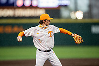 Tennessee Volunteers third baseman Jake Rucker (7) warms up prior to the game against the LSU Tigers on Robert M. Lindsay Field at Lindsey Nelson Stadium on March 27, 2021, in Knoxville, Tennessee. (Danny Parker/Four Seam Images)