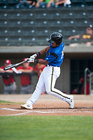 Missoula Osprey second baseman Eddie Hernandez (10) swings at a pitch during a Pioneer League game against the Orem Owlz at Ogren Park Allegiance Field on August 19, 2018 in Missoula, Montana. The Missoula Osprey defeated the Orem Owlz by a score of 8-0. (Zachary Lucy/Four Seam Images)