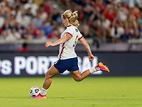 HOUSTON, TX - JUNE 10: Lindsey Horan #9 of the USWNT takes a shot during a game between Portugal and USWNT at BBVA Stadium on June 10, 2021 in Houston, Texas.