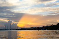 Honduras, Roatan Island, Fantasy Island Resort, Caribbean. Sunset from the dock.