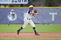 High Point Panthers second baseman Travis Holt (8) makes a throw to first base against the Campbell Camels at Williard Stadium on March 16, 2019 in  Winston-Salem, North Carolina. The Camels defeated the Panthers 13-8. (Brian Westerholt/Four Seam Images)
