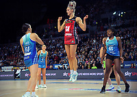 Tactix goalkeep Jane Watson marks Bailey Mes (left) as Mystics goalshoot Grace Nweke looks on during the ANZ Premiership netball final between Northern Mystics and Mainland Tactix at Spark Arena in Auckland, New Zealand on Sunday, 8 August 2021. Photo: Dave Lintott / lintottphoto.co.nz