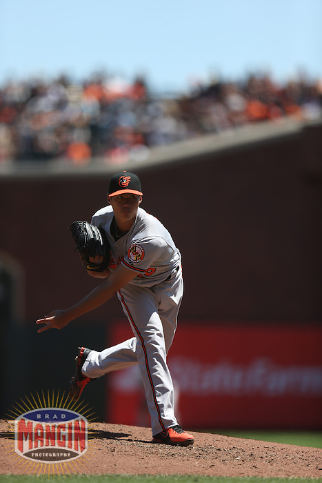 SAN FRANCISCO, CA - AUGUST 10:  Wei-Yin Chen of the Baltimore Orioles pitches during the game against the San Francisco Giants at AT&T Park on Saturday, August 10, 2013 in San Francisco, California. Photo by Brad Mangin