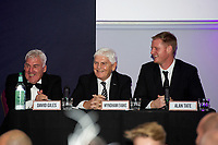 Pictured: David Giles, Wyndham Evans and Alan Tate of Swansea Cityduring the Swansea City Question Of Sport at the Liberty Stadium in Swansea, Wales, UK. Thursday 05 December 2019