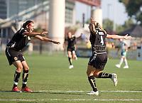 Christine Sinclair, left, congratulates Rachel Buehler, right, after scoring a goal, FC Gold 1, St. Louis Athletica 1, at Buck Shaw Stadium, in Santa Clara, Calif., Sunday, August 9, 2009.