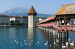 Switzerland, Canton Lucerne: Chapel Bridge, Water Tower and Pilatus mountain