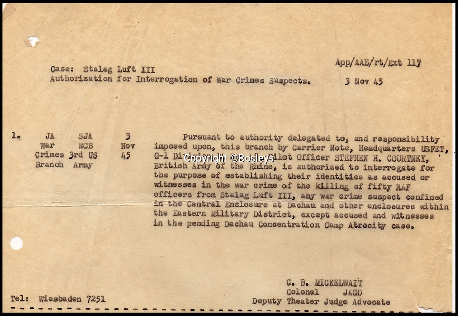 BNPS.co.uk (01202 558833)Pic: Bosleys/BNPS<br /> <br /> RAF officers authorisation to interrogate Nazi suspects.<br /> <br /> Paper Trail...Sqn Ldr frank McKenna's meticulous investigation is revealed in the fascinating dossier.<br /> <br /> Remarkable top secret documents relating to the investigation into the murder of 50 prisoners of war who took part in the Great Escape have come to light.<br /> <br /> The papers made up a dossier put together by the RAF Special Investigation Branch which had the job of finding the German killers of the Allied airmen who took part in the high-profile escape.<br /> <br /> The documents, that include custody mugshot photos and fingerprints of Gestapo suspects, have been put up for sale through Bosley's Auctioneers.