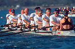 Rowing, Older men (50+) rowing an eight oared shell in San Diego Crew Classic competition, Mission Bay, San Diego, California, USA,