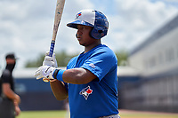 FCL Blue Jays Victor Mesia (28) bats during a game against the FCL Yankees on June 29, 2021 at the Yankees Minor League Complex in Tampa, Florida.  (Mike Janes/Four Seam Images)