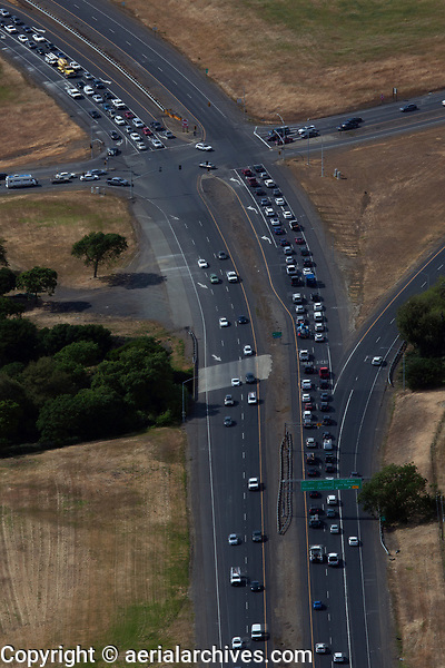 aerial photograph of heavy traffic at Highways 29, 121 and 221, City of Napa, Napa County, California