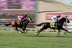 DEL MAR, CA  JULY 28:  #7 Fly to Mars, ridden by Flavien Prat, in the stretch of the California Dreamin' Stakes on July 28, 2018, at Del Mar Thoroughbred Club in Del Mar, CA.(Photo by Casey Phillips/Eclipse Sportswire/Getty Images)