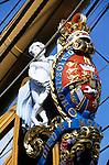 Great Britain, England, Hampshire, Portsmouth: Figurehead on bow of HMS Victory, Admiral Lord Nelson's flagship during the Battle of Trafalgar in 1805   Grossbritannien, England, Hampshire, Portsmouth: Gallionsfigur der HMS Victory,  Admiral Lord Nelsons Flaggschiff waehrend der Schlacht von Trafalgar 1805..