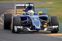 March 14, 2015: Marcus Ericsson (SWE) #9 from the Sauber F1 Team rounds turn two during qualification at the 2015 Australian Formula One Grand Prix at Albert Park, Melbourne, Australia. Photo Sydney Low