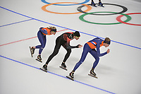 OLYMPIC GAMES: PYEONGCHANG: 17-02-2018, Gangneung Oval, Long Track, Training session, Irene Schouten (NED), Olivier Jean (CAN), Jorrit Bergsma (NED), ©photo Martin de Jong
